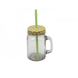 كاس عصير زجاج بغطاء استيل + مصاصة متعدد الالوان